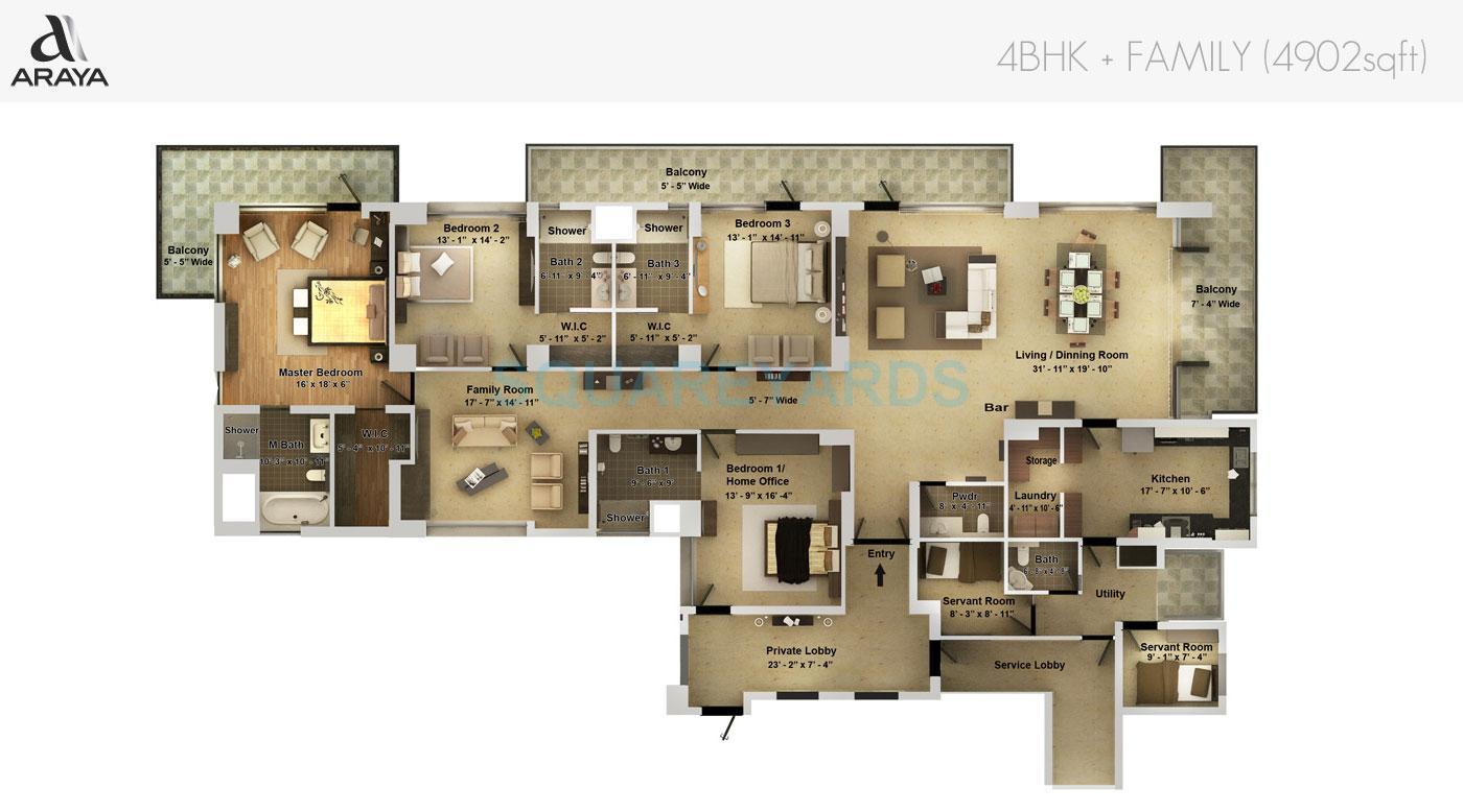 pioneer park araya apartment 4bhk family 4902sqft 1