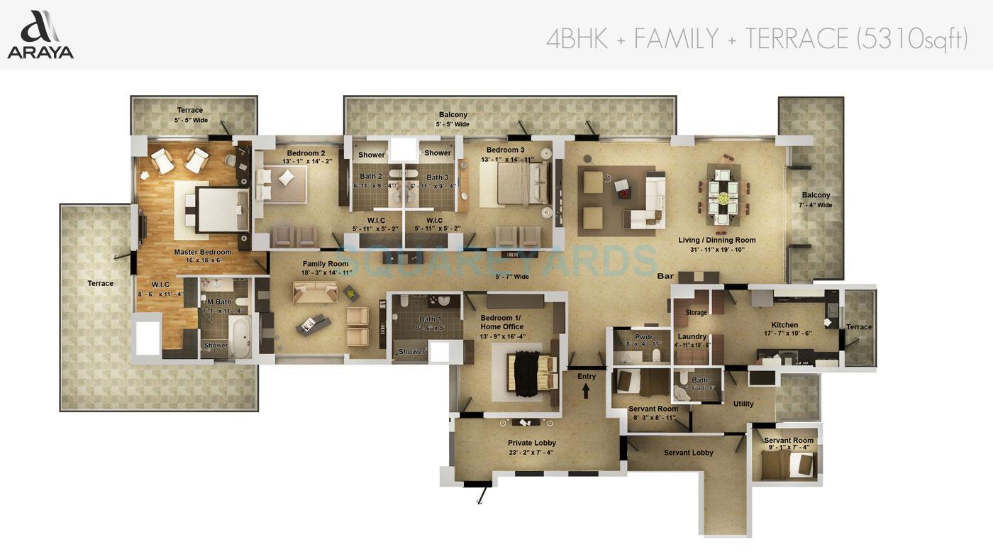 pioneer park araya apartment 4bhk family terrace 5310sqft 1