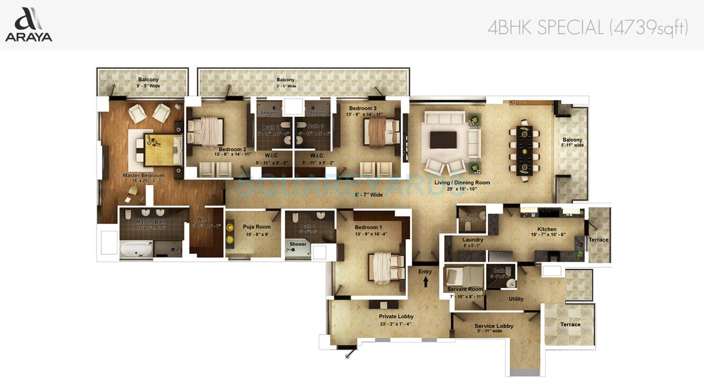 pioneer park araya apartment 4bhk special 4739sqft 1