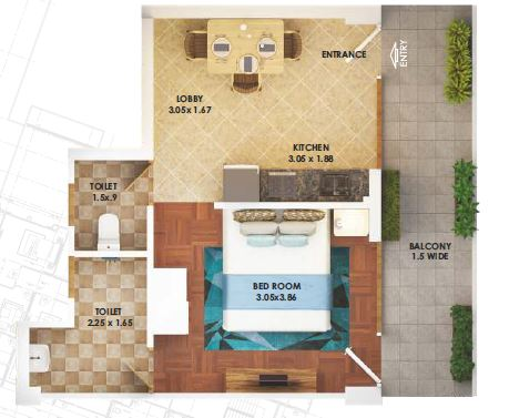 pyramid heights apartment 1bhk 307sqft 1