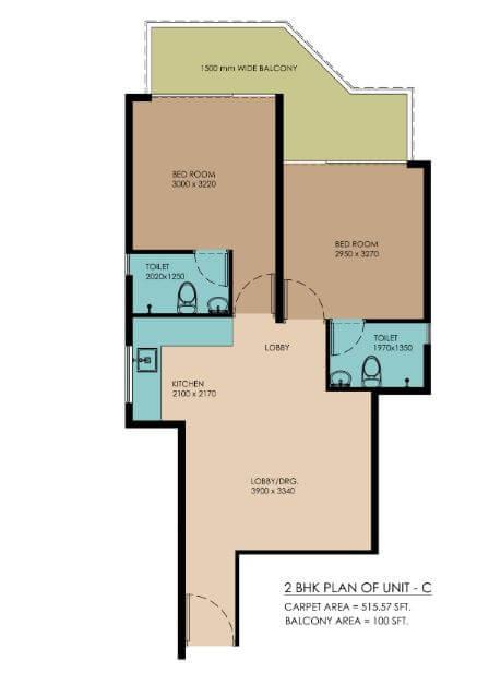 pyramid urban homes 2 apartment 2bhk 515sqft 1