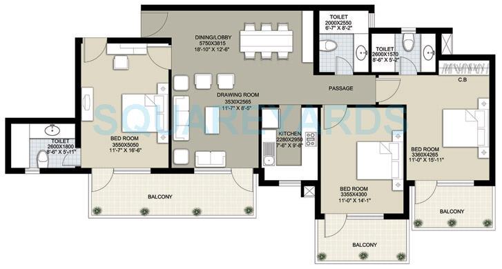 raheja navodaya apartment 3bhk 2350sqft 1