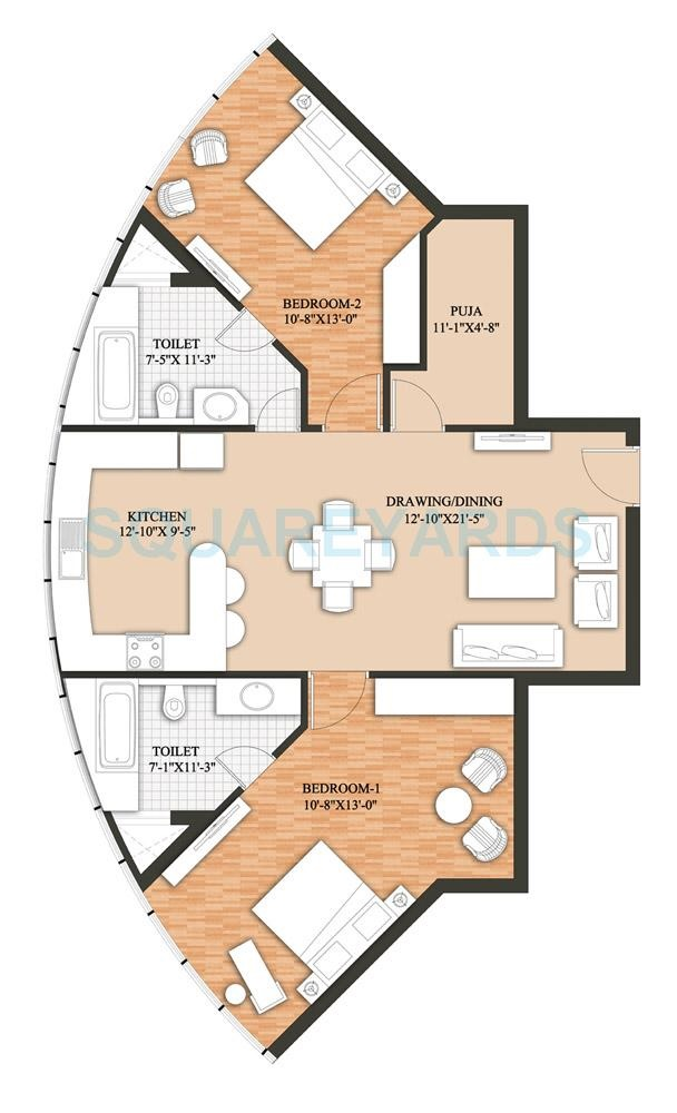 raheja revanta surya tower apartment 2bhk 1478sqft 141
