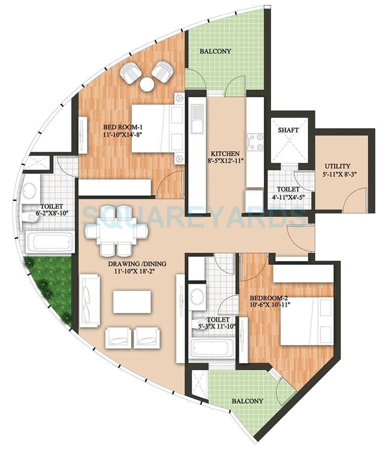 raheja revanta surya tower apartment 2bhk 1623sqft 141