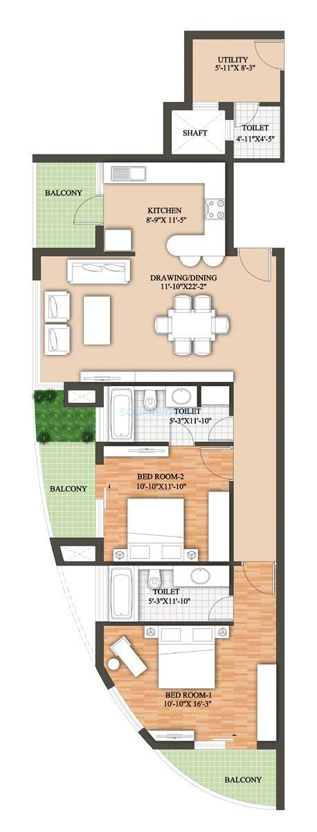 raheja revanta surya tower apartment 2bhk 1714sqft 141