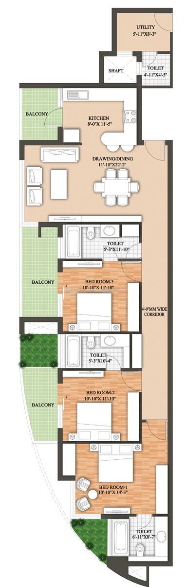 raheja revanta surya tower apartment 3bhk 2166sqft 1