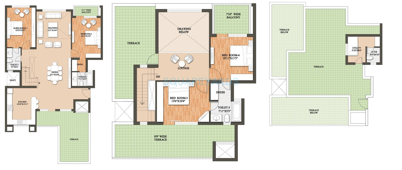 raheja revanta tapas townhouse penthouse 4bhk 3141sqft 1