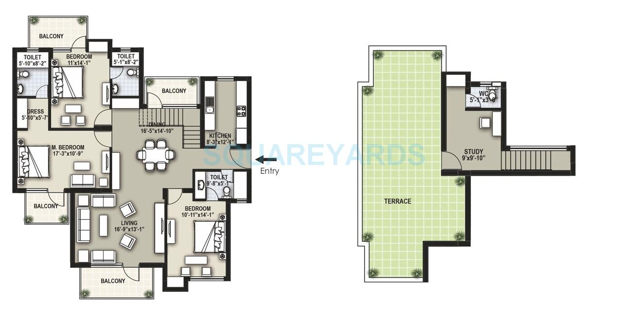 raheja shilas independent floors penthouse tf 3bhk 2317sqft 1