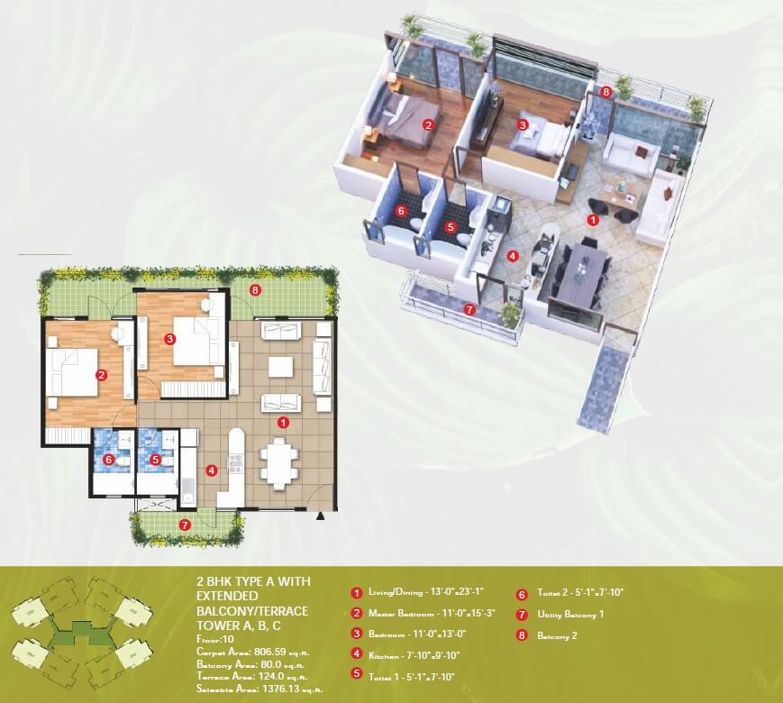raheja vanya apartment 2bhk 1376sqft 1