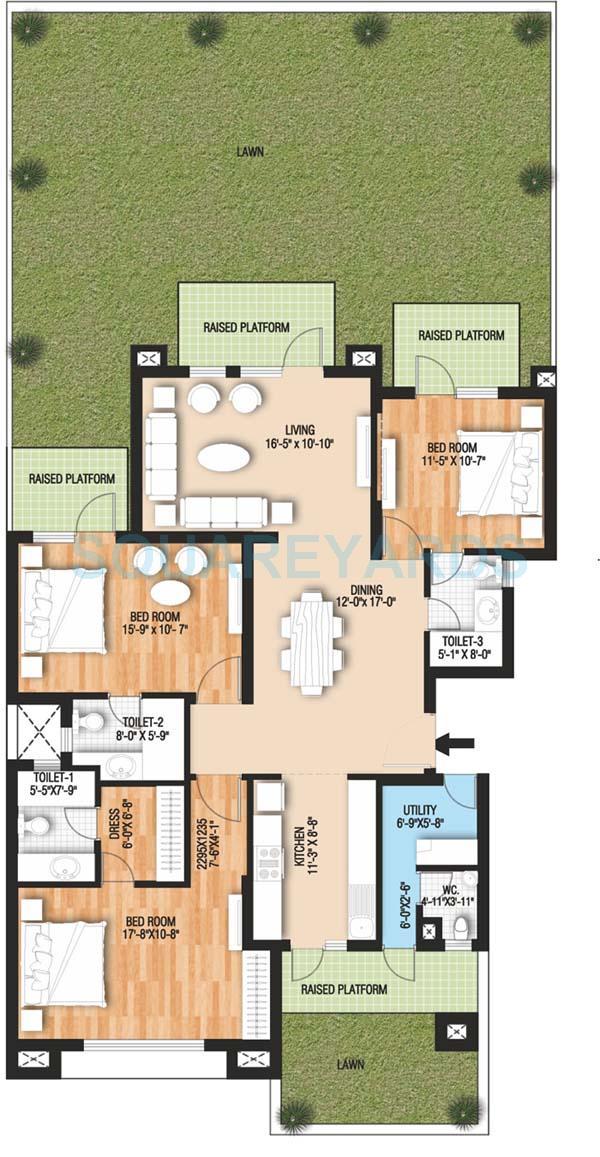 raheja vedaanta floors builder floor gf 3bhk 2175sqft 1