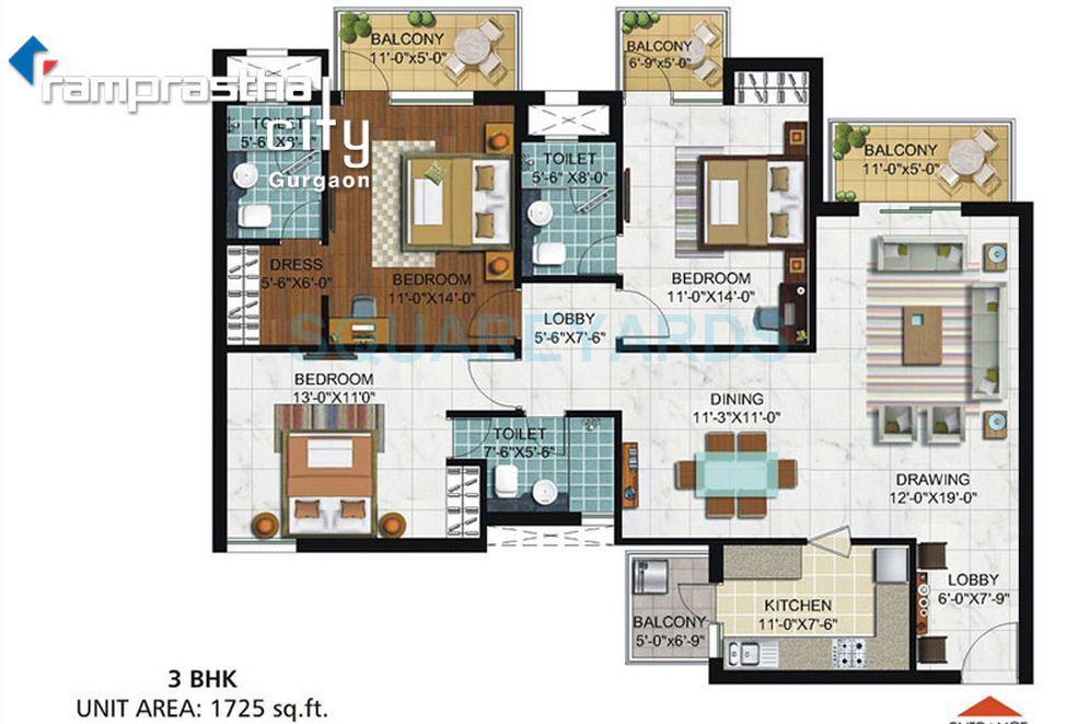 ramprastha city skyz apartment 3bhk 1725sqft 1