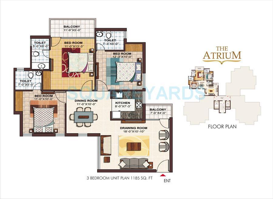 ramprastha city the atrium apartment 3bhk 1185sqft 1