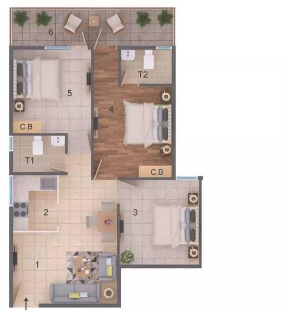rof amaltas apartment 2bhk 643sqft 1