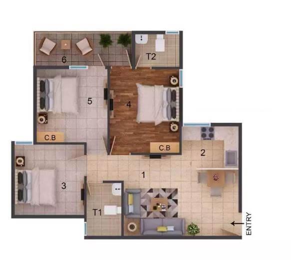 rof amaltas apartment 2bhk 645sqft 1