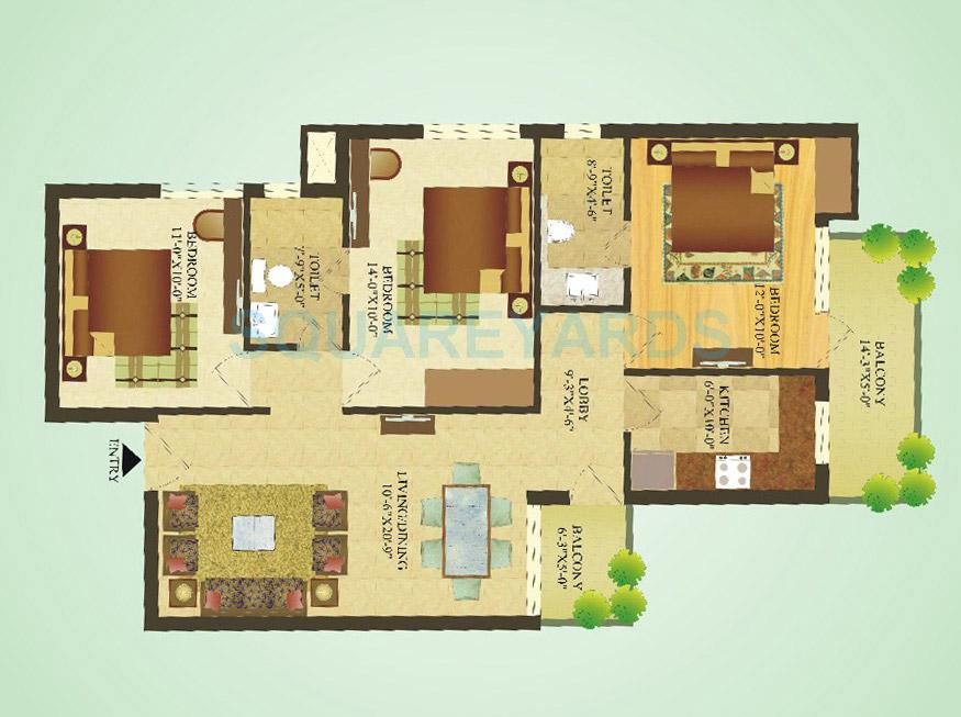 sare crescent parc apartment 3bhk 1180sqft 1