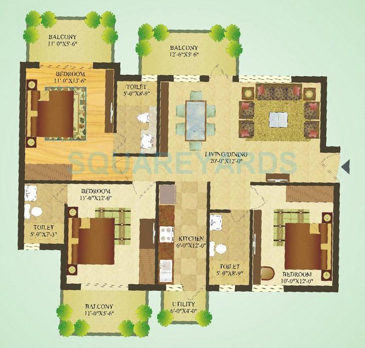 sare crescent parc apartment 3bhk 1417sqft 1