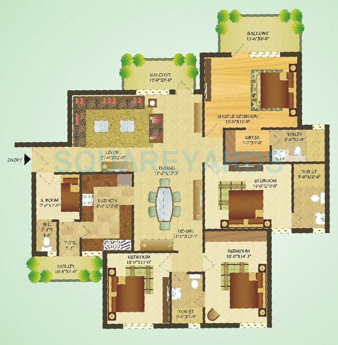 sare crescent parc apartment 4bhk 1870sqft 1