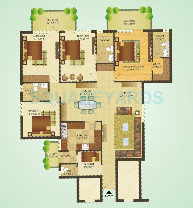 sare crescent parc apartment 4bhk 1900sqft 1