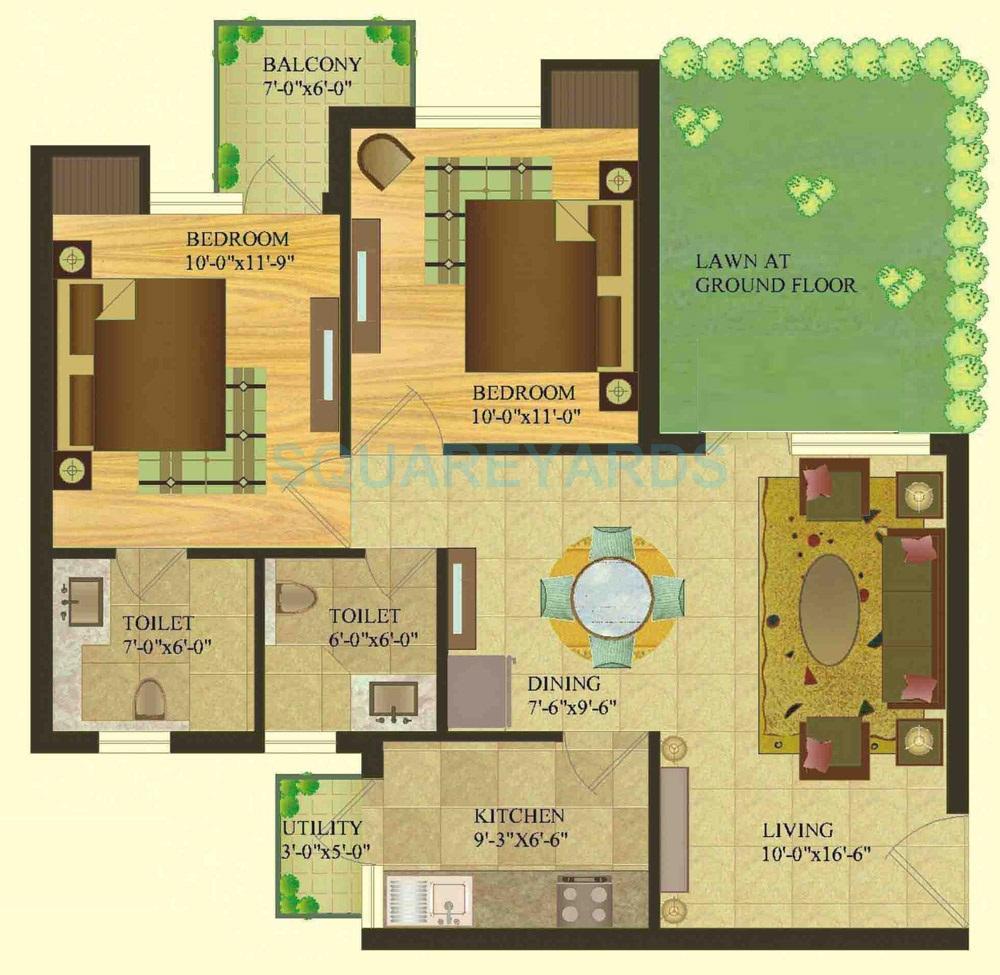 sare crescent parc royal greens phase i apartment 2bhk gf 950sqft 1