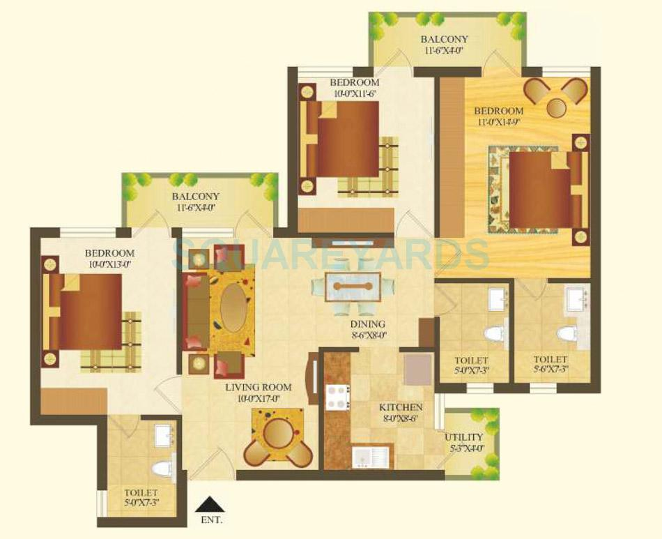 sare crescent parc royal greens phase ii apartment 3bhk 1314sqft 1