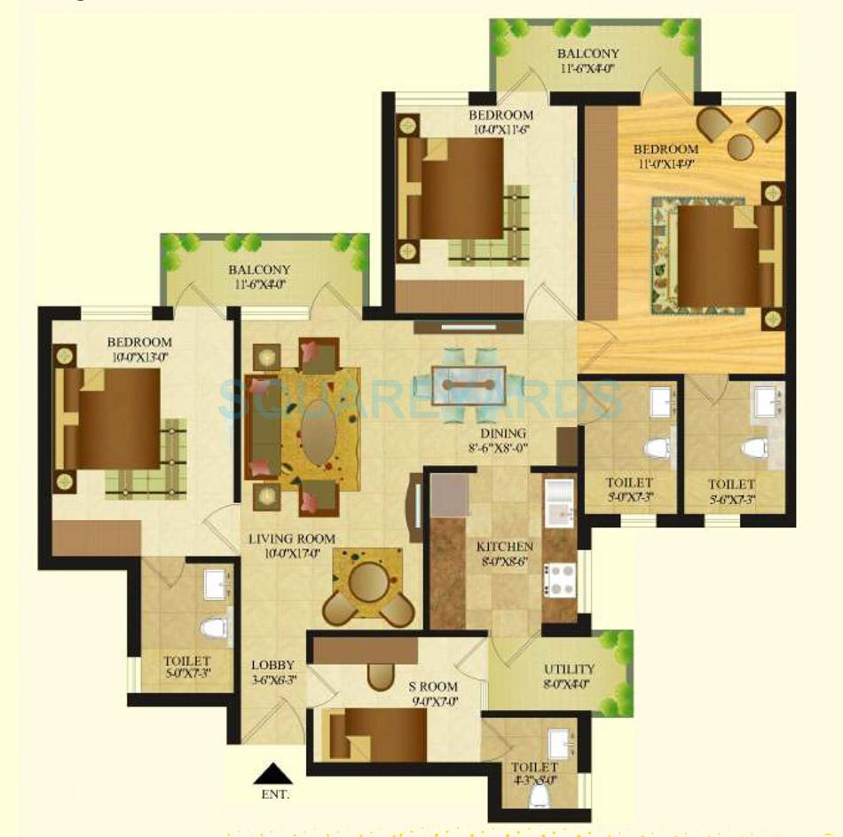 sare crescent parc royal greens phase ii apartment 3bhk 1482sqft 1