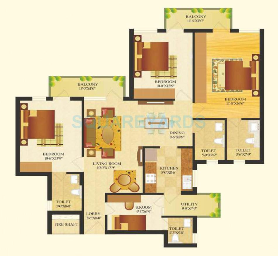 sare crescent parc royal greens phase ii apartment 3bhk 1516sqft 1