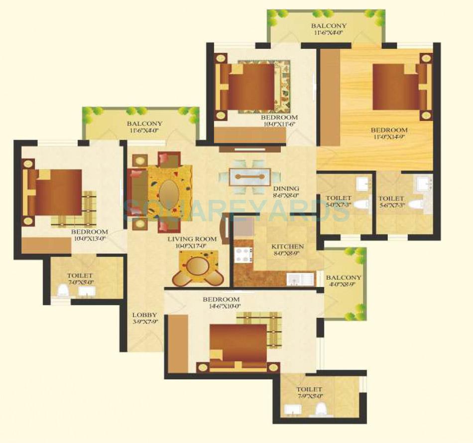 sare crescent parc royal greens phase ii apartment 4bhk 1620sqft 1