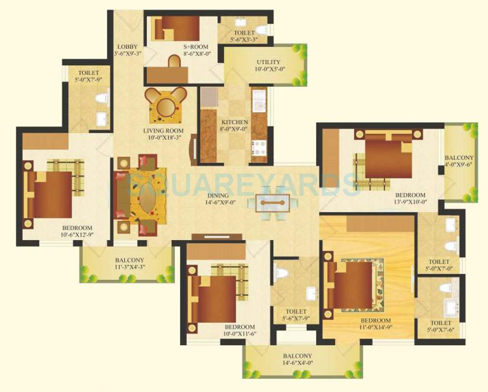 sare crescent parc royal greens phase ii apartment 4bhk 1859sqft 1
