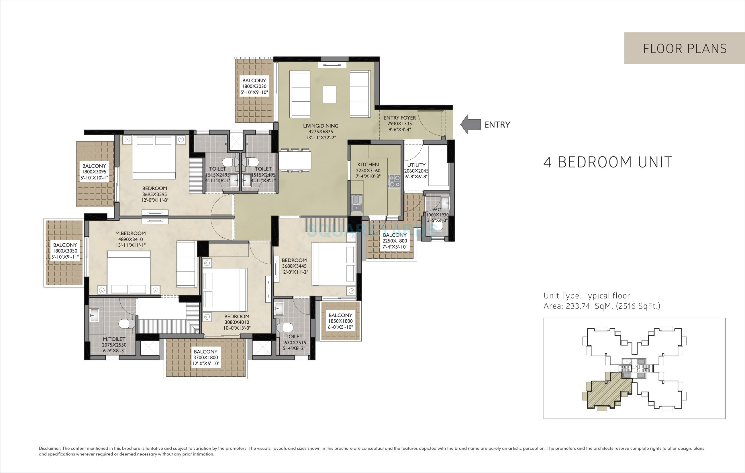 satya residences apartment 4bhk 2516sqft 1