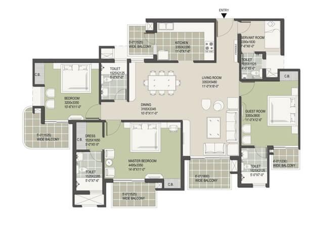 satya the hermitage apartment 3bhk sq 1991sqft 1