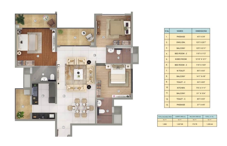 shapoorji pallonji joyville gurgaon apartment 3bhk 1027sqft 1