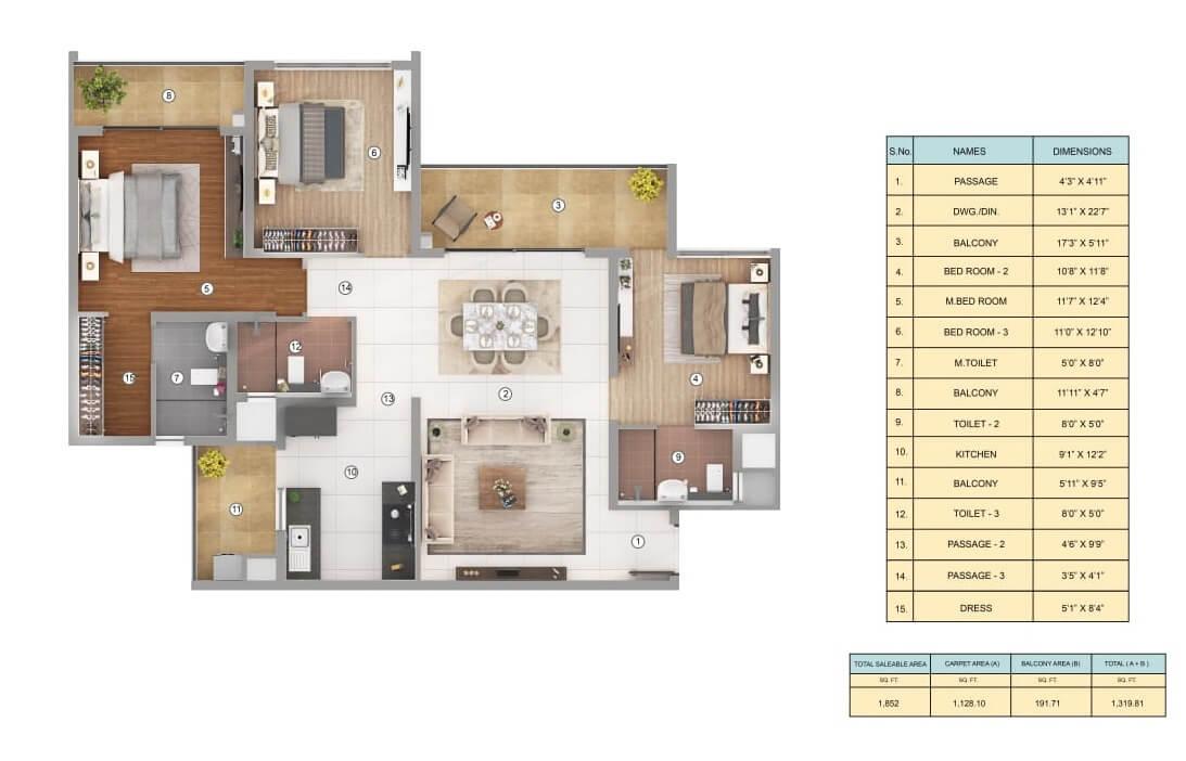 shapoorji pallonji joyville gurgaon apartment 3bhk 1128sqft 1