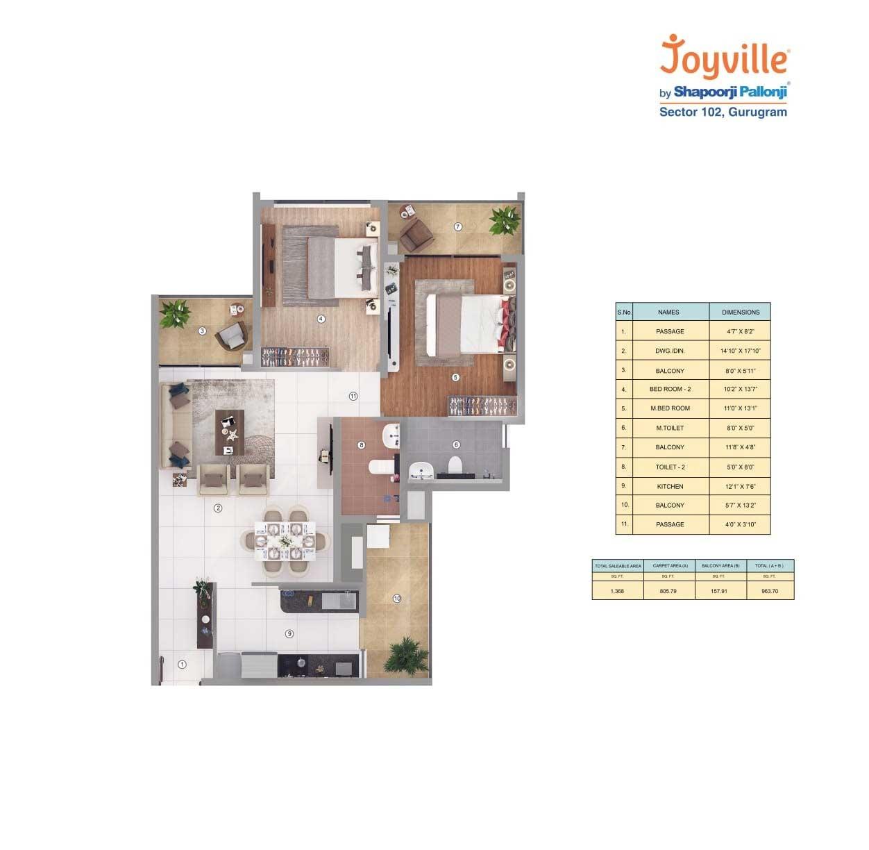 shapoorji pallonji joyville phase 2 apartment 2 bhk 1368sqft 20212804132831