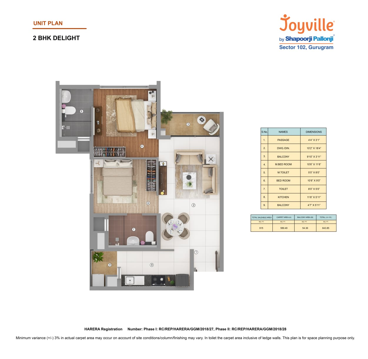shapoorji pallonji joyville phase 2 apartment 2bhk 915sqft 1