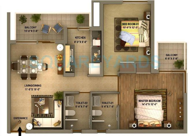 sidhartha estella apartment 2bhk 1245sqft 1