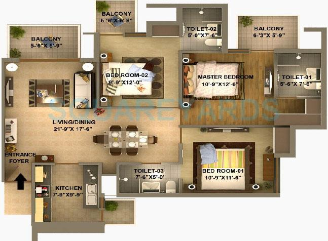 sidhartha estella apartment 3bhk 1640sqft 1