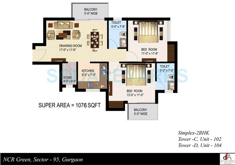 sidhartha ncr green apartments apartment 2bhk 1076sqft 1
