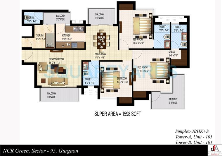 sidhartha ncr green apartments apartment 3bhk sq 1598sqft 1