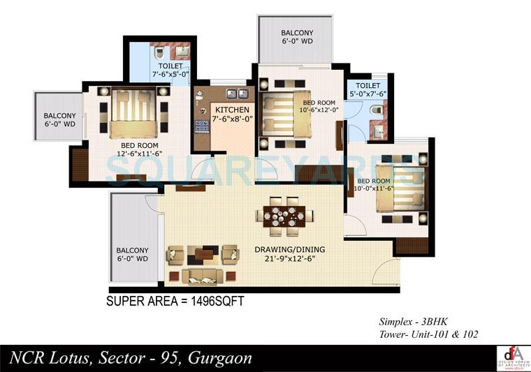sidhartha ncr lotus apartment 3bhk 1496sqft 1