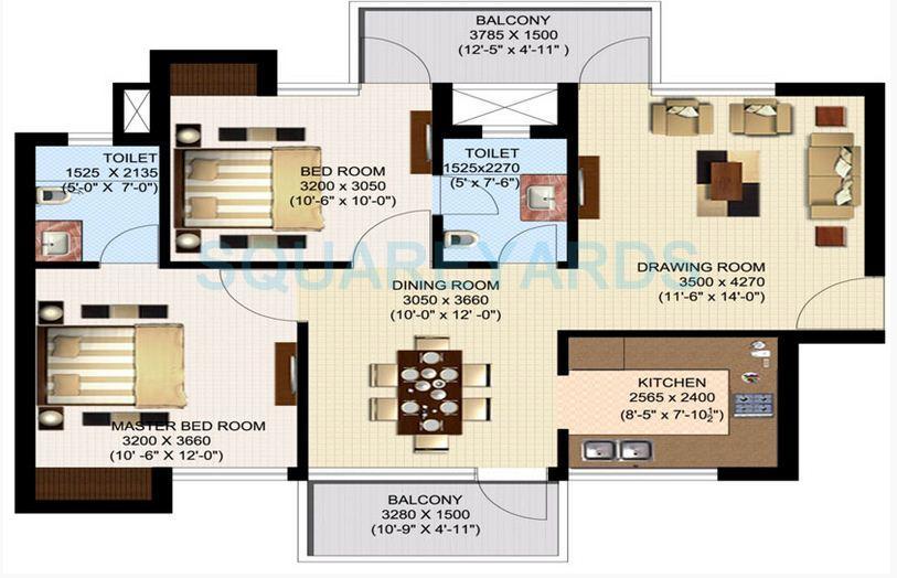 sidhartha ncr one apartment 2bhk 1100sqft 1