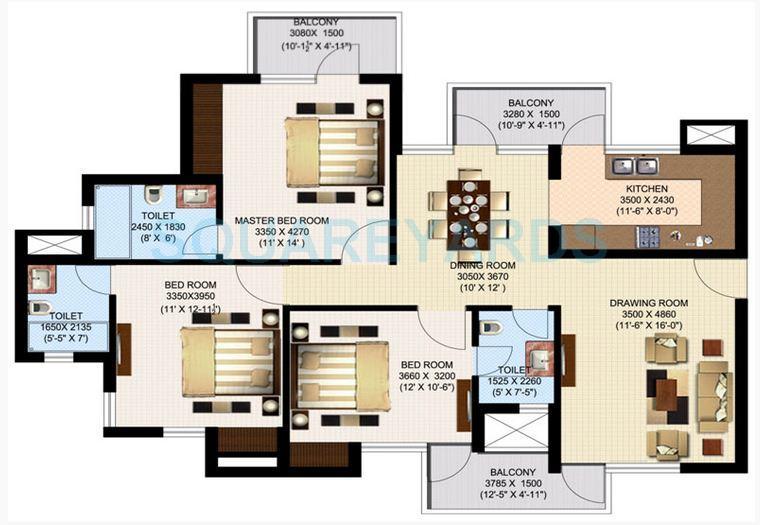 sidhartha ncr one apartment 3bhk 1600sqft 1