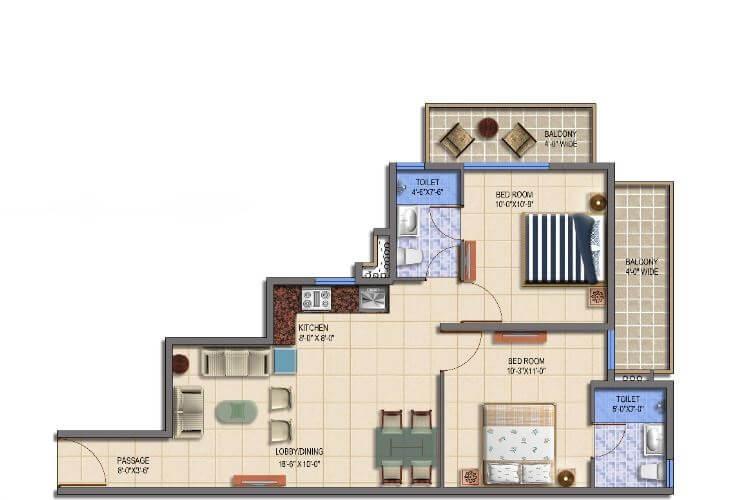 signature roselia phase 2 apartment 2bhk 569sqft 1