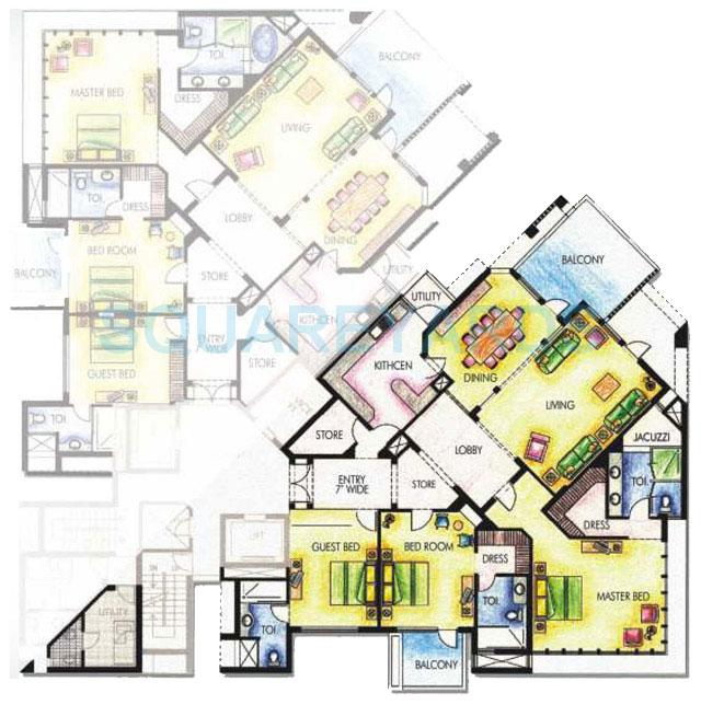 silverglades the ivy apartment typical 3bhk 3100sqft 1