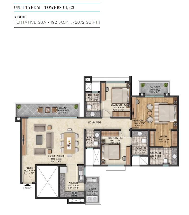 sobha city gurgaon apartment 3bhk 2072sqft 1