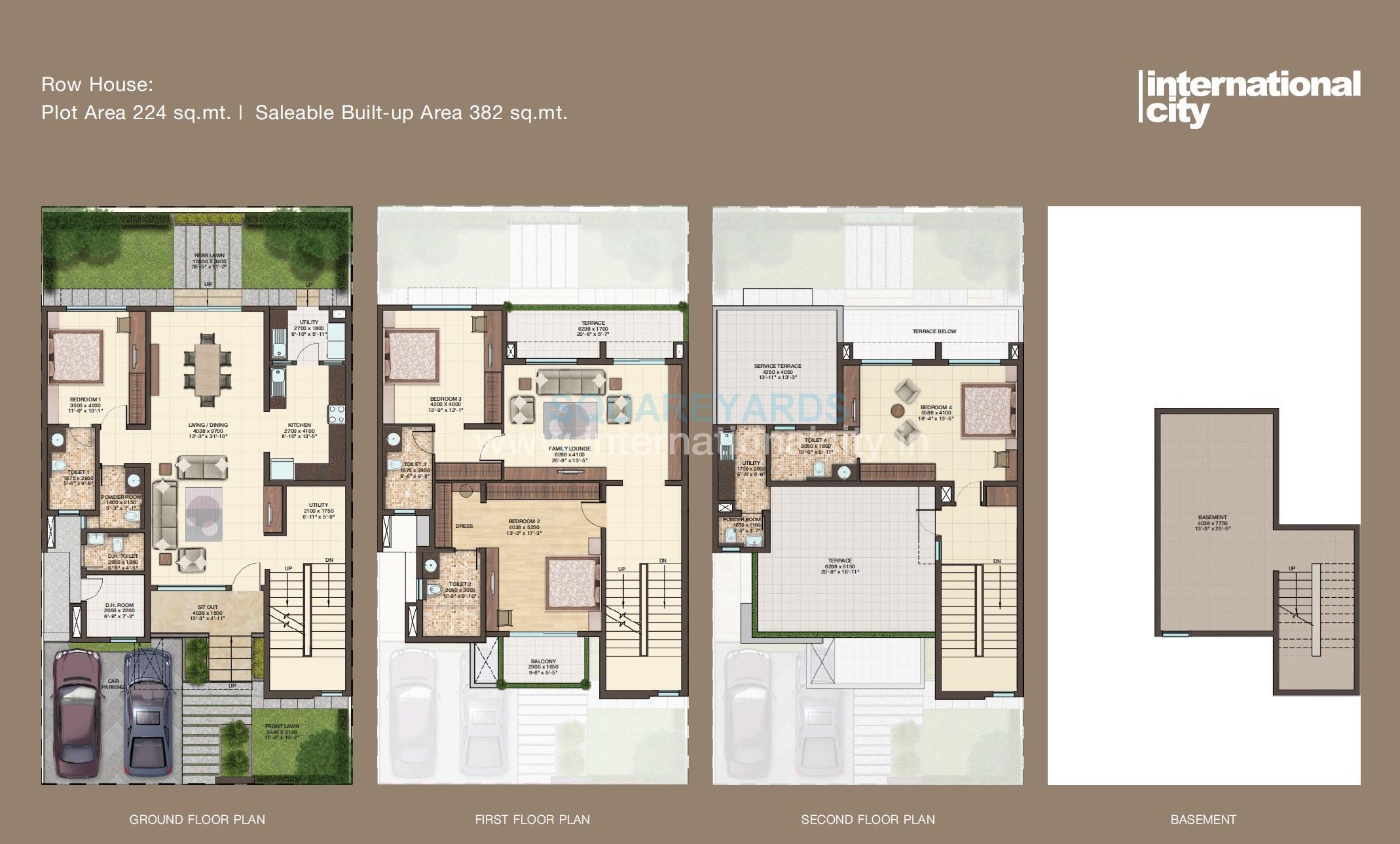 4 bhk 4122 sq ft villa for sale in sobha international for Floor plan for 4bhk house