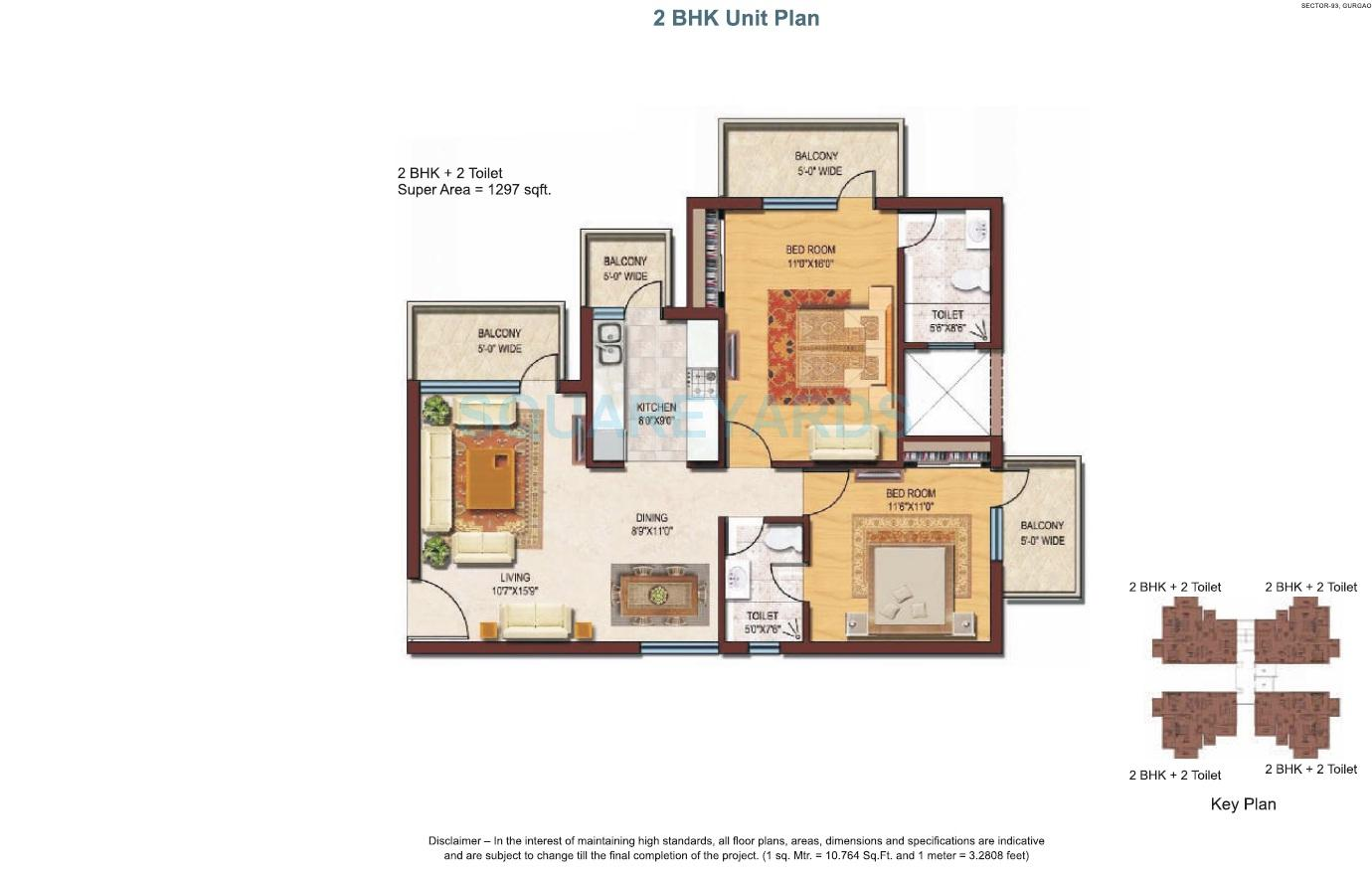 spaze privvy the address apartment 2bhk 1297sqft 1