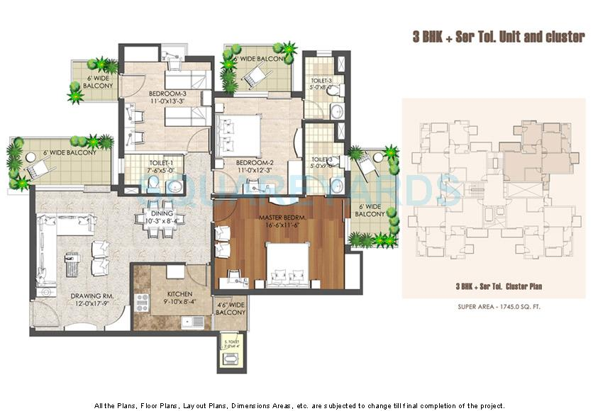 spaze privy at4 apartment 3bhk 1745sqft 1