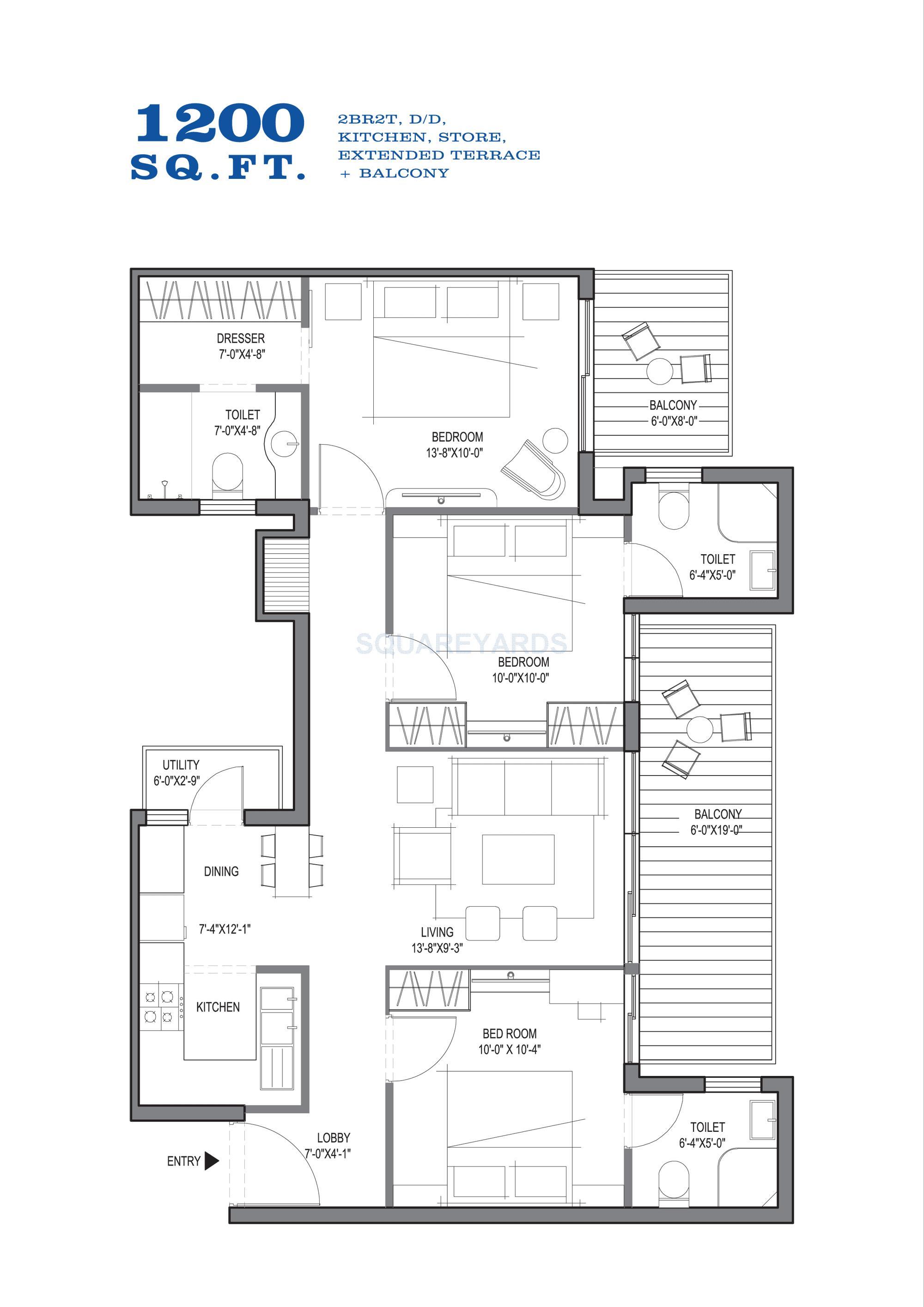 spire south apartment 2bhk 1200sqft 1