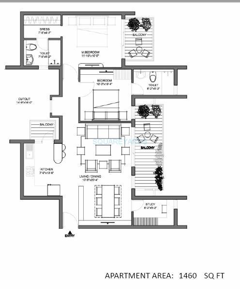 spire woods apartment 2bhk 1460sqft 1