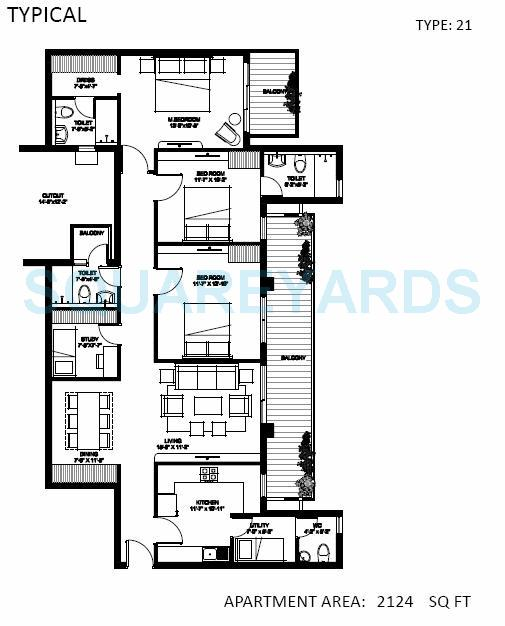 spire woods apartment 3bhk 2124sqft 1